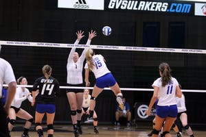 Kaleigh Lound spikes a ball over the net during a recent match at Fieldhouse Arena.