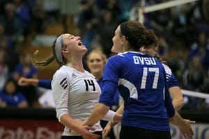 GVSU's Christina Canepa (left) and Josie Werner (right).