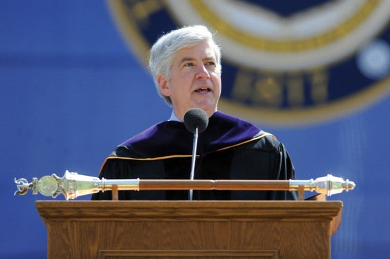 Courtesy / Melanie Maxwell / AnnArbor.comGov. Rick Snyder speaks during the 2011 University of Michigan Spring Commencement.