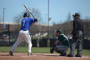 GVL / Luke Holmes - Anthony Villar (17) steps up to the plate. GVSU Men's Baseball played a double-header against Tiffin University on Saturday, April 1, 2016.