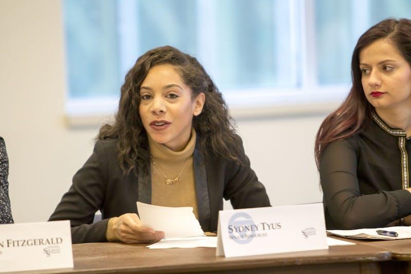 GVL / Sara CarteSydney Tyus, Student Senate Resources, speaks at the Student Senate General Assembly Meeting in the Kirkhof Center on Thursday, Feb. 4, 2016.