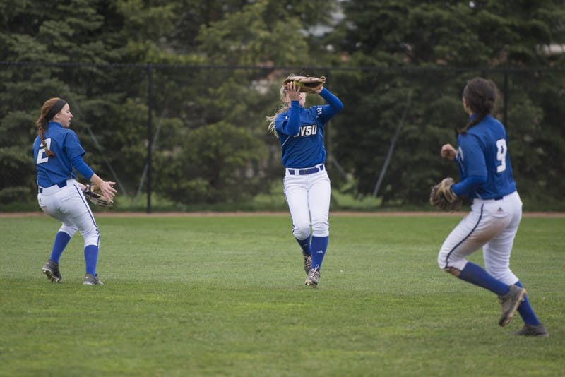GVL / Luke Holmes - Janae Langs (1) makes the catch in center field. Grand Valley Women's Softball won 9-5 in their first game against Lake Superior State.