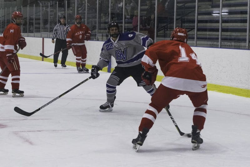 D3 hockey against Miami University (Ohio) on October 19th. GVL / Andrew Nyhof
