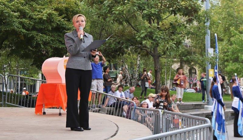 GVL/Ashlyn Korienek - Grand Rapids Mayor Rosalynn Bliss speaks at Rosa Parks Circle during the ArtPrize kick-off event Wednesday, Sept. 21, 2016.
