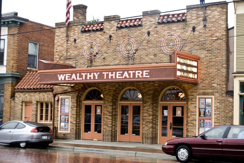 The outside of Wealthy Theatre located in Grand Rapids, Michigan