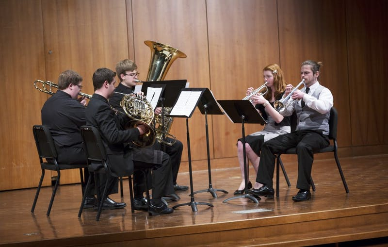GVL / Kevin Sielaff - The BCB Quintet plays Simple and Clean, composed by Utada Hikaru. The Alex Aninos Scholarship Recital is held Friday, March 25, 2016 inside Grand Valley's Cook-DeWitt Center in Allendale.