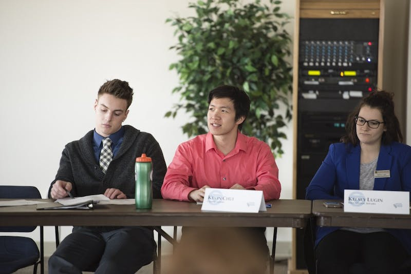 GVL / Luke Holmes - Kevin Chui makes a comment during the meeting. Student Senate held a meeting in the Pere Marquette room Thursday, Mar. 17, 2016.