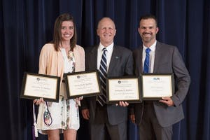 """GVL / Courtesy - gvsu.edu    Samantha Mackay (left) was awarded the """"Outstanding Masters Thesis Award,"""" Award for Excellence in Service to Community/Profession,"""" and the """"Award for Best 3 Minute Thesis Presentation"""" for her accomplishments in 2016-17."""