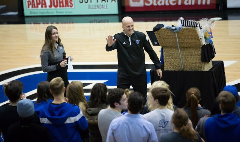 GVL / Kevin Sielaff - Time Selgo is honored at half time by GVSU athletes. The Lakers defeat the Cardinals of SVSU with a final score of 76-73 in Allendale.