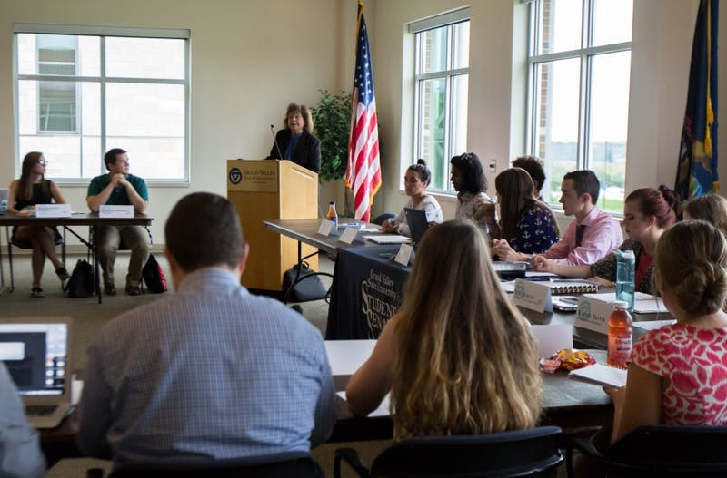 GVL/Mackenzie Bush - Provost Gayle Davis speaks during a Student Senate meeting Thursday, Sept. 22, 2016.