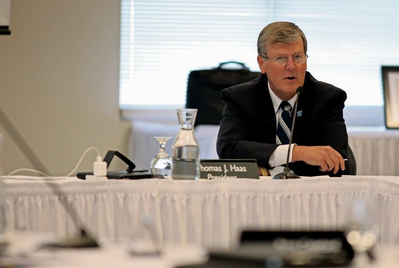 Archive / Robert MathewsPresident T. Haas speaking during a previous Board of Trustees meeting.