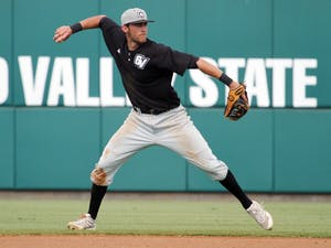 Courtesy / GVSU Lakers  Junior INF Kevin Zak making a throw during the Lakers playoff run.