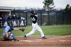 GVL / Emily Frye     Sophomore Connor Glik steps up to the plate against Northwood University on Wednesday April 13, 2016.