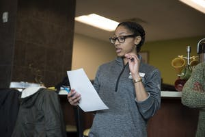 """GVL / Luke Holmes - Bre from campus recreation speaks during the """"Love Your Body Week: Mindul You"""" presentation in the Women's Center in Kirkhof Monday, Feb. 22, 2016."""