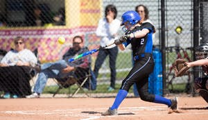 GVL / Kevin Sielaff –  Kelsey Dominguez (2) takes a swing and makes solid contact with the ball. Grand Valley takes the victory over Walsh in both games held in Allendale on Saturday, April 23, 2016.
