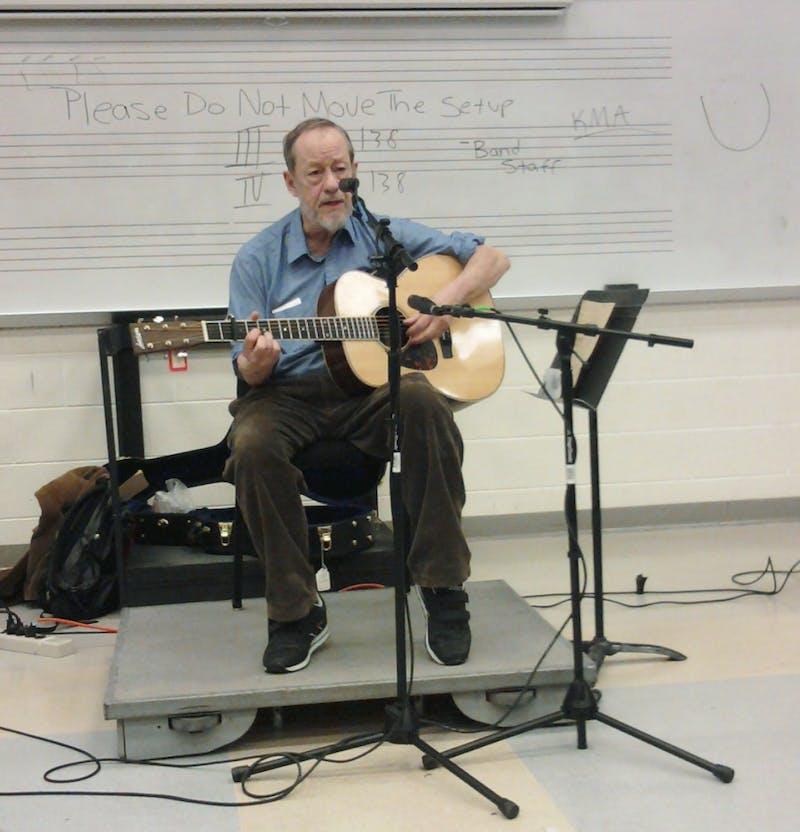 Folk artist Joe Hickerson performed in the Guest Artist Series on Wednesday.