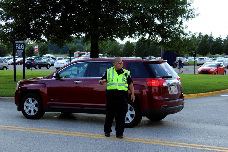 Officer Minh directing traffic 8/30/18. GVL / Archive