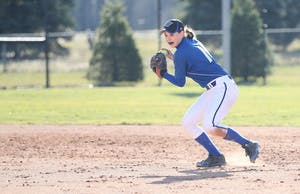 GVL/Kevin Sielaff - Shannon Flaherty (19) throws the ball to first base during the game vs. Lewis on Tuesday, March 28, 2017.