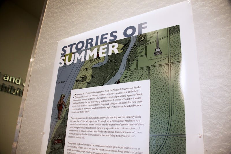 "The ""Stories of Summer"" exhibition in the exhibation space in Mary Idmea Pew Library at GVSU on display the week of February 10th, 2019. GVL / Emily Modloff"