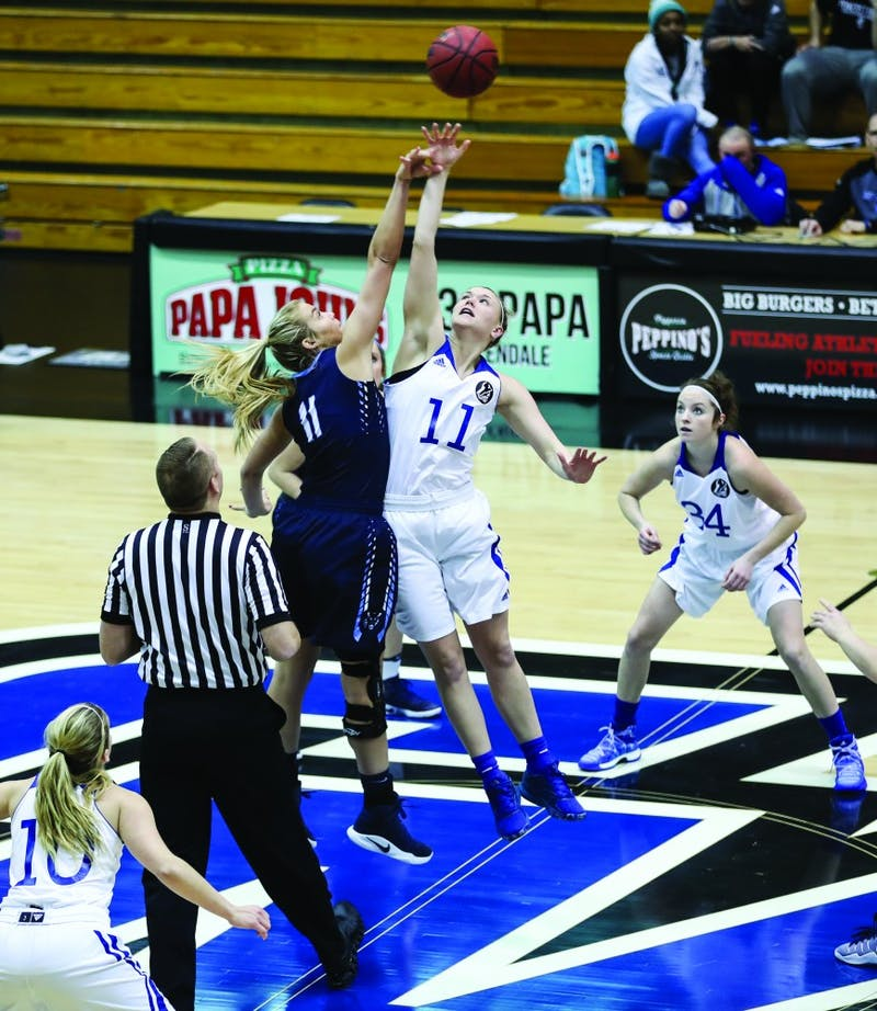 Piper Tucker (11) takes the opening tip of the game during the game vs. Northwood inside the Fieldhouse Arena in Allendale on Thursday, Feb. 9, 2017.