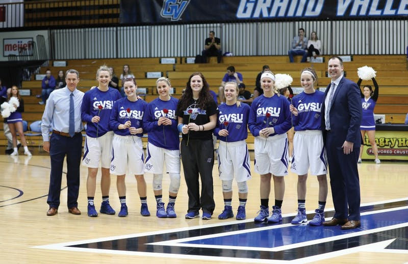 GVL/Kevin Sielaff - Seniors from the women's basketball team are celebrated before the game against Northern Michigan on Saturday, Feb. 18, 2017 inside the Fieldhouse Arena in Allendale.
