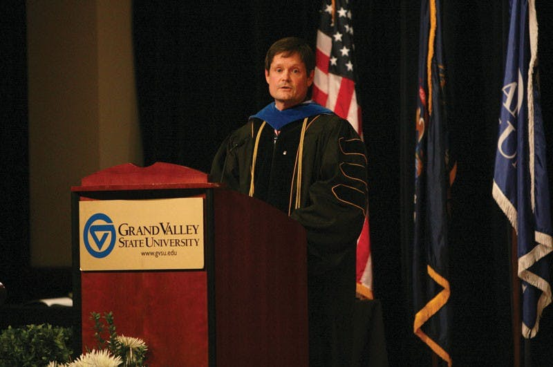 "GVL / Austin MetzRobert Adams, Keynote speaker and recipient of the ""GVSU Outstanding University Service Award"" for 2013."