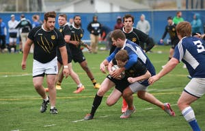 GVL / Kevin Sielaff - Grand Valley's club rugby team defeats Oakland University Oct. 3 in Allendale.