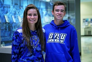 GVL / Emily Frye Grand Valley State University tennis players and siblings Nicole and Jack Heiniger pose for a photo on Wednesday Mar. 23, 2016. This is Jack's third season with the Lakers and Nicole's first.