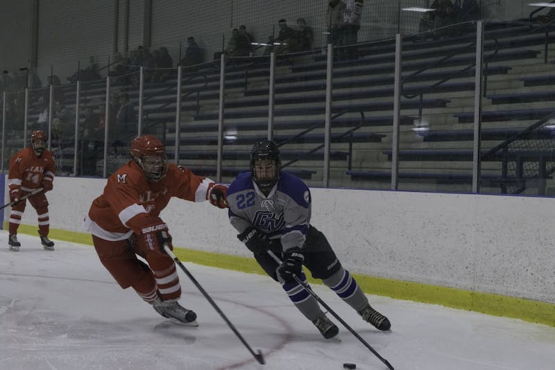 D3 hockey against Miami University (Ohio) on October 19, 2018.  GVL / Andrew Nyhof