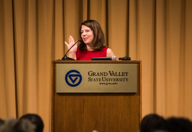 GVL / Spencer Scarber Grand Valley Provost and Executive Vice President for Academic and Student Affairs Maria Cimitile addrressed attendants of the Women's Comission Fall Welcome Luncheon  Tuesday. September, 19 2017