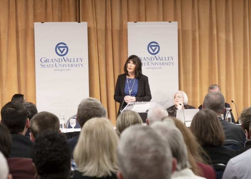Dr. Mantella addresses the crowd at GVSU's Kirkhof Center following her unanimous appointment. Mantella will be the fifth president in school history and the first female president. GVL / Leah Kerr
