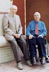 GVL / Courtesy - University Communications   Joseph Stevens (left) with Professor Emeritus William Baum (right) in 2001.