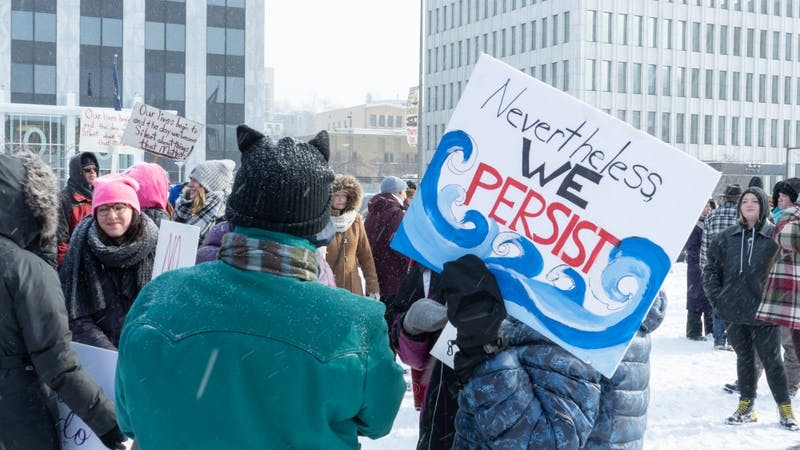 GR Citizens. Womens March. 1/19/19 at 1 P.M. Downtown Grand Rapids. Protesting for rights. GVL / Ben Hunt