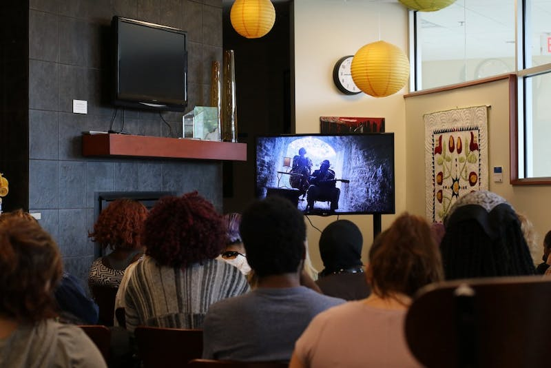 "GVL/Ty Konell - Students gather for Feminist Flick Friday which took place in the Women's Center Friday, Sept. 30, 2016. The Feminist Film Friday series continues with a showing of ""It Happened Here"" on Friday, April 21, from 2 p.m. to 4 p.m"