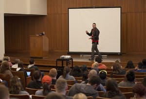 GVL / Luke Holmes - Michael Reyes interacts with the audience in between reciting poems. Michael Reyes performed in the Cook-DeWitt center Wednesday, Mar. 30, 2016