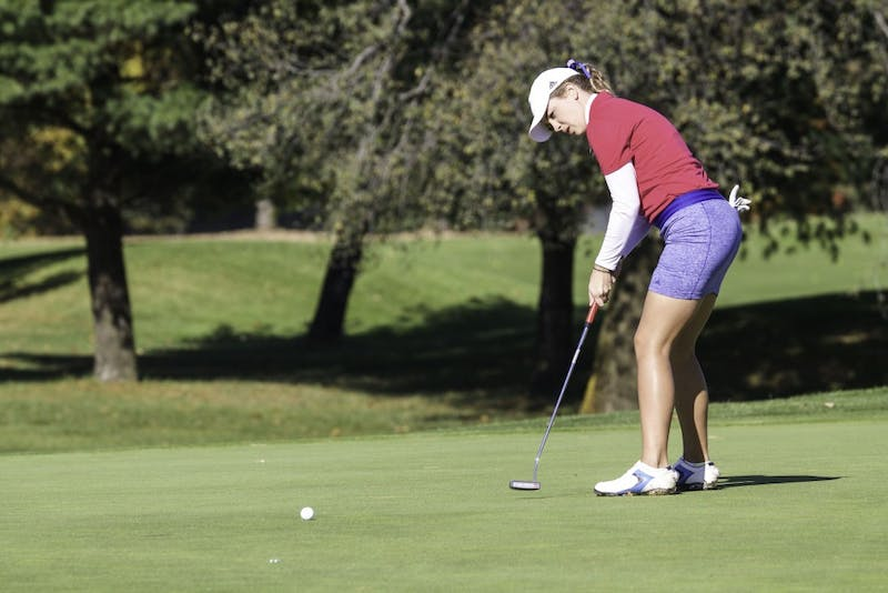 GVL/Sara Carte - Alex Taylor putts the ball on the ninth hole during the Davenport Invitational at the Blythefield Country Club on Monday, Oct. 26, 2015.