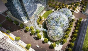 GVL / Courtesy - geekwire.comPart of Amazon's planned expansion in the Seattle area includes biodome structures.
