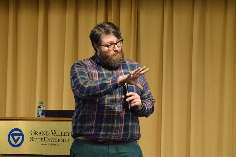 GVL/Hannah Zajac— James Robilotta gives a speech about leadership in the Grand River Room on Thursday 27 Mar 2018.