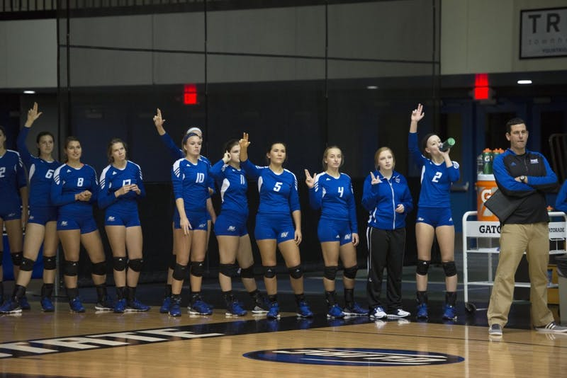 GVL / Luke Holmes - GVSU volleyball defeated Northwood in three games in the Fieldhouse Arena on Friday, Nov. 11, 2016.