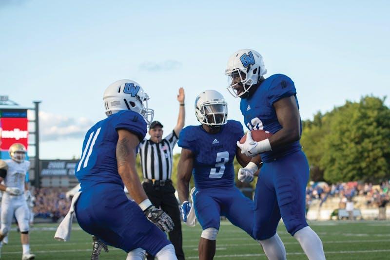 GVL / Luke Holmes - Urston Smith (10) celebrates after scoring the touchdown. Grand Valley State University defeated Tiffin 45-7 on Thursday, Sep. 1, 2016.