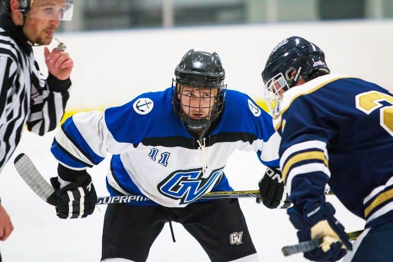 GVL / Spencer ScarberTom Carey during the D2 mens hockey game vs Trine University on October 13, 2017