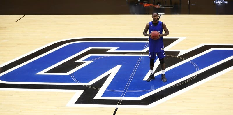 GVL/Kevin Sielaff - Juwan Starks poses for a photo inside Grand Valley's Fieldhouse Arena on Tuesday, Jan. 10, 2017.