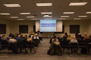 GVL / Dylan McIntyre. Tuesday, February 20, 2018. Domestic Violence and Stalking lecture hosted by Safe Haven Ministries and Campus For Consent.