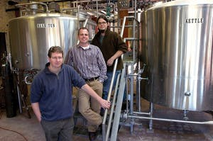 Courtesy Photo / MLive.com   Top to bottom, Jeremy Kosmicki, head brewer, Mike Stevens, president, and David W. Engbers, vice president, at Founders Brewing Co.
