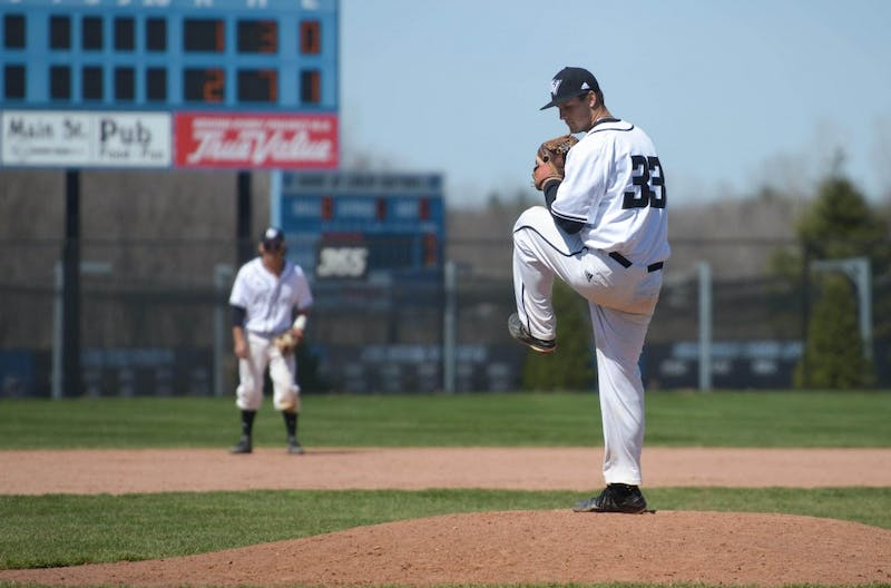 GVL / Luke Holmes -  Jake Mason (33) throws the pitch. GVSU Men's Baseball faced off against Ohio Dominican in a double header on Saturday, April 8, 2017.