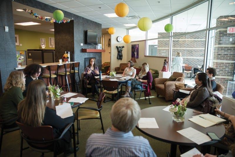 GVL / Luke Holmes - Professor Danielle Leek speaks to a group about women's history inside the Women's Center on Wednesday, Feb. 17, 2016.