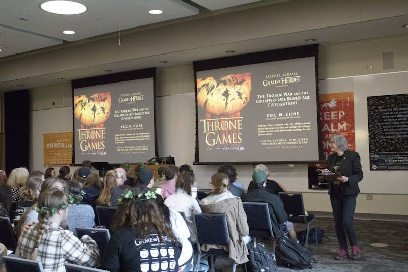 GVL / Hannah HillStudents attend Game of Heros: HOMERATHON 6. A Non-Stop Performance of Homer's ILIAD on Tuesday, October, 10, 2017.