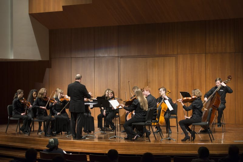 GVL / Luke Holmes - The chamber orchestra begins their performance. The Chamber Music Concert took place in the Cook-DeWitt Center Tuesday, Mar. 22, 2016.