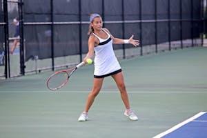 GVL / Emily Frye  GVSU Women's Tennis vs. Saginaw Valley State University on Sep. 12th