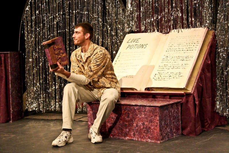 """GVL Archive / Kelly BegerowTraveling Shakespeare: Patrick Kepley acts as Romeo from Romeo and Juliet during his performance of """"The Charms Wound Up: Magic in the Making"""". """"Bard to Go"""" is a production put on by GVSU students where they travel to different schools performing Shakespeare."""